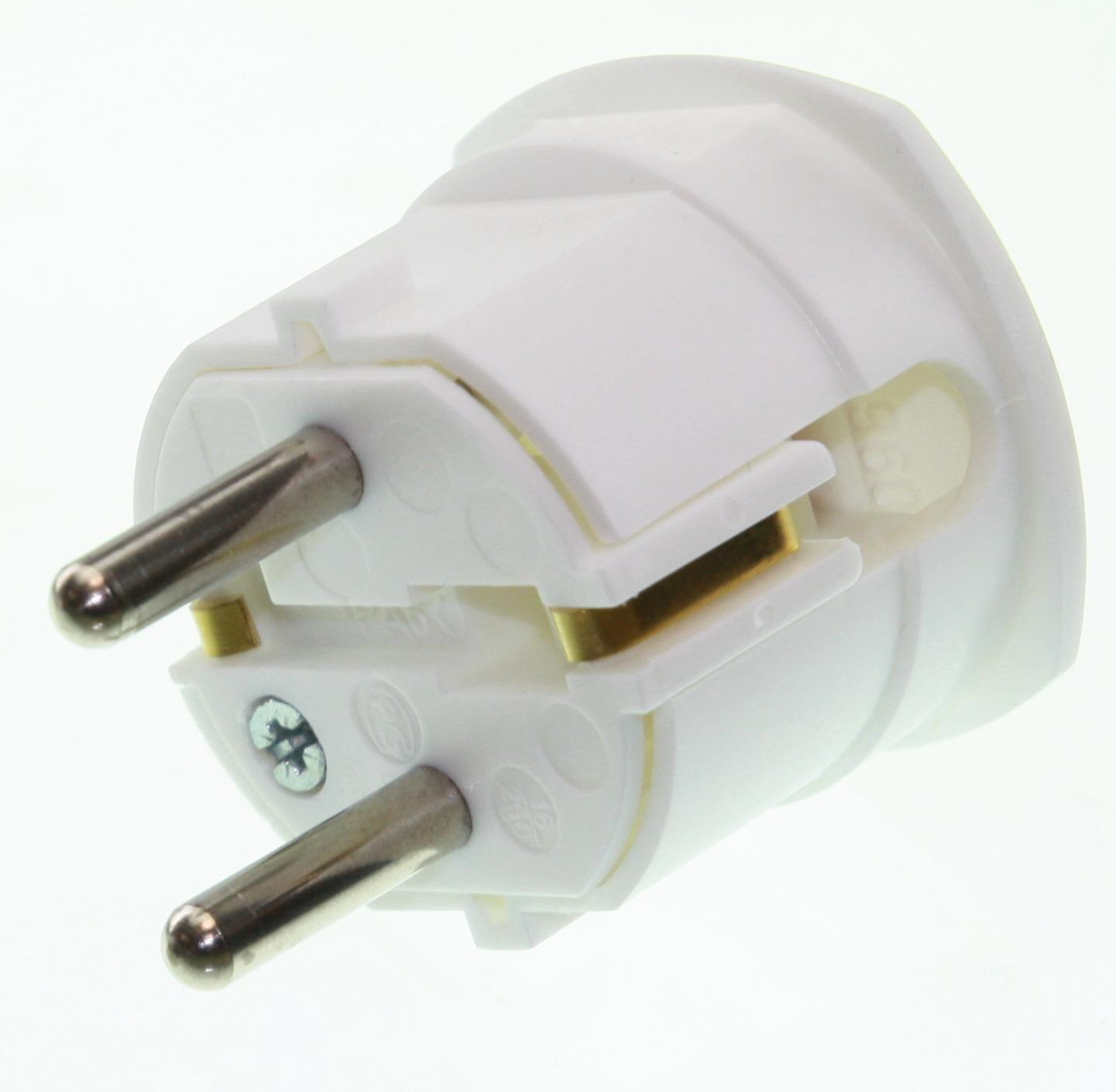 Sensationelle Schuko netstik han 230V, m. jord, hvid/ vinkel | Elektronik MG88